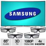 "Samsung 65"" Class Curved 3D Smart LED HDTV - FUll HD 1080P, 1920x1080 Resolution, 4x HDMI, WiFi, 4 Pairs of 3D Active Glasses - UN65H8000"